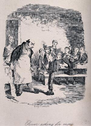 view Oliver Twist, holding a bowl and a spoon, asks for more food, while other children and a woman look surprised. Etching by George Cruikshank.