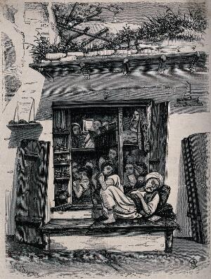 view A tumbled-down schoolhouse with children reading and an old man asleep on the window ledge. Wood engraving by W. Timms.