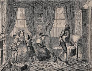 view A family has returned from holiday and everyone is looking very unhappy. Etching by George Cruikshank after S.K.
