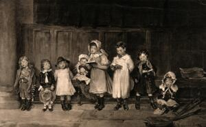view A group of children holding song books and singing. Process print after Marie Seymour Lucas.