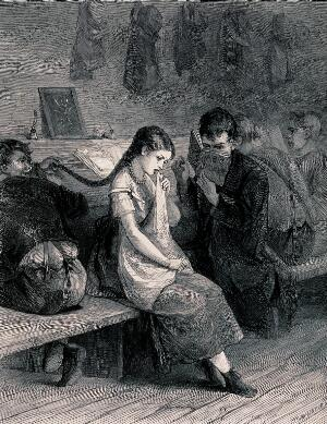 view A girl sitting on a bench crying as a boy pulls her plait: another boy reads beside her. Wood engraving by H. Linton.