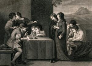 view Boys are being taught by an schoolmaster sitting at a table. Stipple engraving by George Keating after Pasquilini.