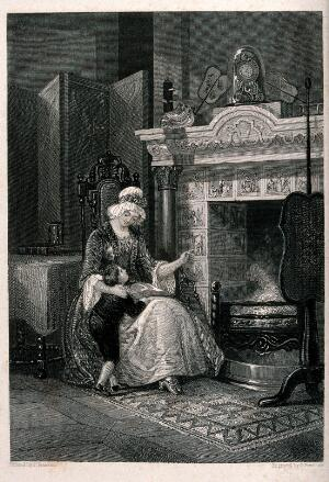 view Philip Doddridge as a child being taught the Old and New Testaments by his mother using ceramic tiles around the fireplace. Engraving by G. Presbury after J. Franklin.