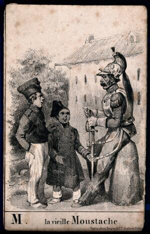 view Two young boys stare at an old soldier with a large moustache. Lithograph.