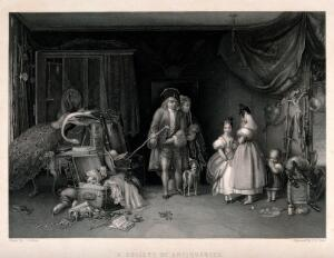 view Two young children hide as two adults come into the room where they have been dressing up in old clothes and jewellery. Engraving by T.A.Dean after Jenkins.