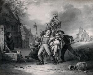 view A group of boys with a flag and weapons take hold of one boy who is attempting to escape. Lithograph by Thomas Fairland after Robert Farrier.
