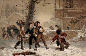 view Schoolboys throwing snowballs at schoolgirls as the girls leave school. Colour process print after E. Girardet.