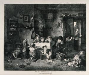 view A group of children sit around a table reading a newspaper which is spread out over the table as another child runs to greet the woman who is coming in through the door. Process print after Alexander H. Burr.