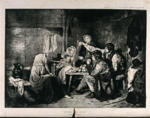 view Children play a game with potatoes and a rag hanging from the beam. Process print after Erskine Nicol.