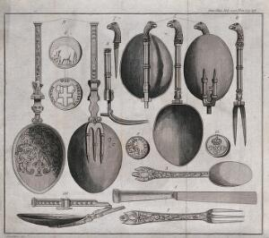 view Old eating implements: spoons, forks, and a knife. Engraving after Schnebbelie.