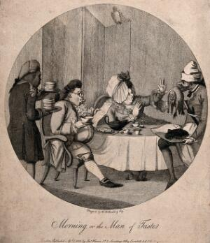 view A man and a woman having a meal at the table as servants bring piles of food. Stipple engraving after W.H. Bunbury.