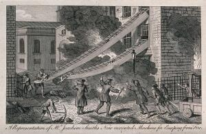 view As a fire rages in a house people are being helped to escape by means of chutes extended from the windows to the ground. Etching.