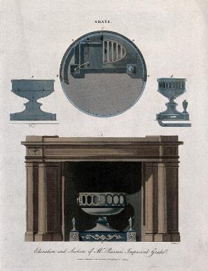view Diagrams of a fire grate and a fireplace with surround. Coloured engraving by J. Pass.