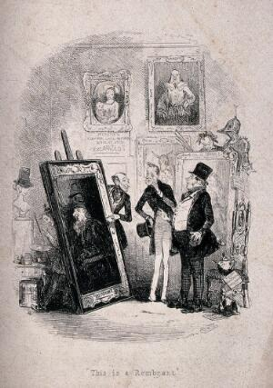 view Two men in an art gallery are being shown a painting by the proprietor while another man with a paint brush in his hand hides behind the picture. Etching by Phiz (Hablot K. Browne), 1845.