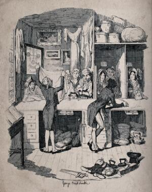 view Two men are standing behind the counter of a pawnbroker's shop in London, examining some articles of clothing which have been brought in to pawn. Etching by George Cruikshank, 1836.