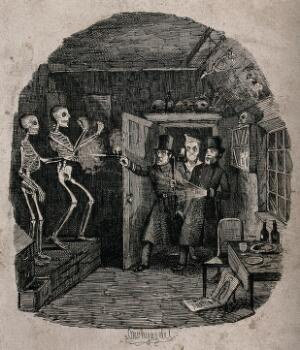view Policemen entering the study of a medical student in search of thieves shoot at a pair of skeletons by mistake Etching by T. Onwhyn, 1844.