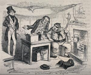 view A man with an eye patch and a pipe is talking to two other men. Process print after George Cruikshank.