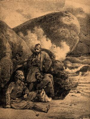 view A group of men wait by the rocks on a beach with a small boat nearby. Lithograph by G. Engelmann.