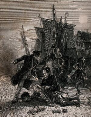 view An old smuggler (Mr Moffit) is shot dead by a naval inspector with a pistol, who finds rolls of tobacco in the dead man's pockets; other people attend the scene. Engraving by W. Greatbach, 1833, after F. Pickering.