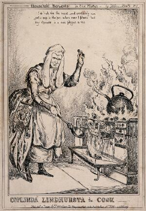 view Lord Lyndhurst, as a cook with a large ladle in his hand, is roasting beef on the spit as a large kettle boils. Etching by W. Heath, 1829.