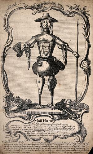 view A mechanical housemaid constructed from pieces of household equipment. Engraving by G. Bickham the younger.