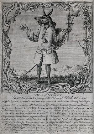 view A figure with the head of an animal carrying cleaning implements in his hands and a padlock between his jaws. Engraving.