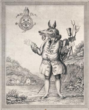 view A figure with the face of an animal who is carrying cleaning implements and has a padlock on its mouth. Engraving.