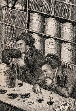 view Two men at a shop counter in a tea and coffee retail shop using scales to measure out coffee beans. Engraving by G. Scott, 1805, after Bell.