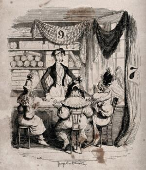 view A shopkeeper stands behind his counter facing three seated female customers on the other side. Process print after George Cruikshank.