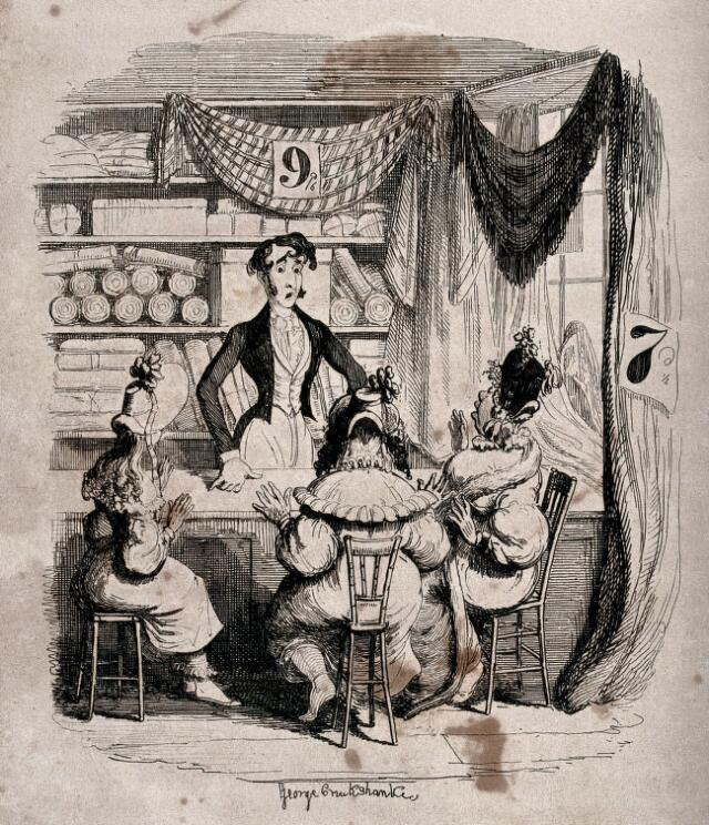 "<p>""The gestures of the three female Maldertons at the draper's counter suggest their shock and disbelief as they discover that Horatio Sparkins is a fraud — and are caught out buying inferior silks at ""a dirty-looking ticketed linendraper's shop"" (278) in order ""save a shilling."" The elegantly dressed young man with the slender waist and perfectly fitting tailcoat, waistcoat, and cravat is a very ""fashion-plate,"" with Byronic curls and a shocked expression that betokens a mutual recognition between himself and Miss Malderton, centre. Although, as Schlicke, points out, what distinguishes this little tale from the previous London sketches in ""Our Parish,"" ""Scenes,"" and ""Characters"" is the contribution of all elements of setting, character, and costume to the plot, what connects this ""tale"" to the earlier, non-fiction pieces is the detailed description that George Cruikshank provides of a commercial establishment, with pricing prominently displayed. The very curtains in this prose-farce, suggestive of a theatrical performance, are priced to go.""--Allingham, loc. cit.</p>"