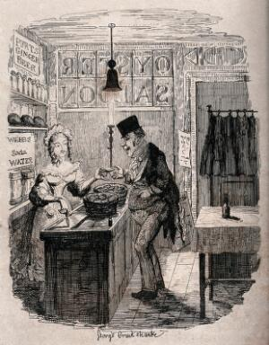 view A man makes a purchase from the young woman behind the counter. Process print after George Cruikshank.