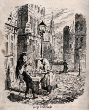 view An almost deserted street in London in the early morning: a woman serves a man and a boy with a hot drink, and a policeman rests against a bollard. Etching by George Cruikshank, 1839.