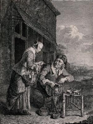 view An old shoemaker is stitching a boot as a young woman leans over him holding a jug in her hand. Engraving by P. Duflos, 1778 after D. van Tol.