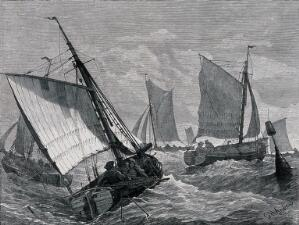 view Four sailing boats navigate stormy seas. Wood engraving by G.H. Andrews.