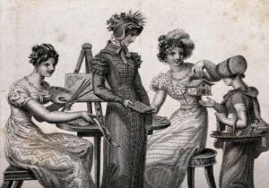 view A girl receives three gifts from three young women: a painting from a woman seted at an easel, a leather-bound book from a woman dressed in outdoor clothes, and a model of a chalet from a woman with scissors and a knife. Engraving.