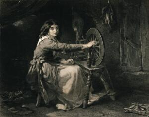 view A young Irish woman working at a spinning wheel. Engraving by Francis Holl after F.W. Topham.