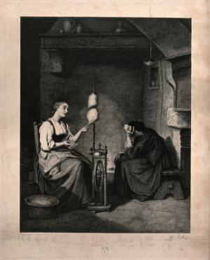 view A young girl sits spinning by the fire, opposite her sits a woman with her head in her hands. Engraving by Erh. Pickel after B. Vautier.