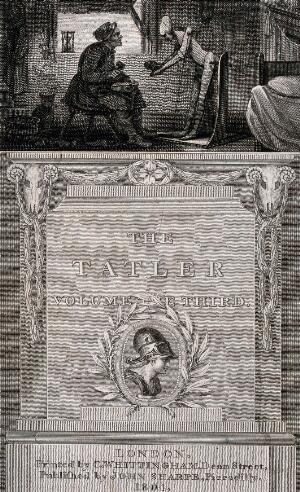 view A cobbler sits on a stool in front of a wooden jointed figure which he has created in order to give himself respect. Engraving by J. Neagle after H. Singleton.