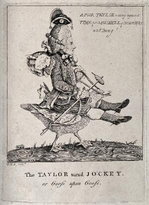 view A tailor riding on the back of a goose; representing an exploited worker. Etching after W.H.Bunbury.