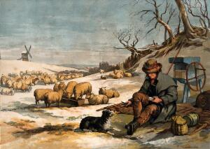 view A shepherd sits outside on a cold winter's day sharing his meal with his dog. Colour print after E. Duncan.