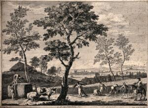 view People harvesting a field of corn: one of the harvesters appeals to a mounted overseer, who disregards his plea and indicates the work. Etching by G. Giampiccoli after M. Ricci.