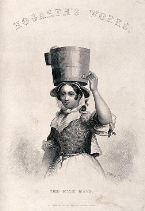 view A milk maid holding a milk pail on her head. Engraving by J. Moore after W. Hogarth.