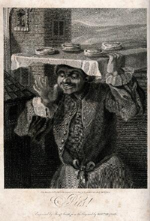view A baker is carrying a tray of pies on his head. Engraving by B. Smith, 1824, after W. Hogarth.