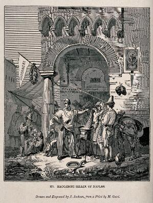 view A man stands at the corner of the street selling macaroni to the passers by. Wood engraving by J. Jackson after M. Gaiel.