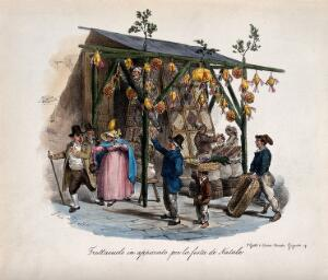 view A fruit trader's stall in Naples at Christmas:  by accident the fruit falls on a customer. Colour lithograph by Gatti and Dura after Gaetano Dura.