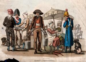 view A market scene with a water vendor, sellers of vegetables and a woman selling fish to a man as a soldier looks on. Coloured etching with aquatint by R.B. Peake.