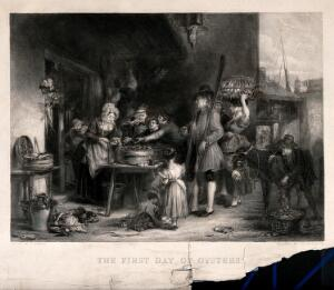 view People are crowded around a table on which there is a large dish of oysters, a waterman with an oar looks on, and a boy is emptying more oysters out of a donkey's panniers. Engraving by William Greatbach after A. Fraser.