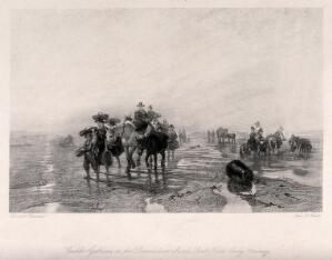view Crowds of people with donkeys are gathering cockles on the beach. Etching by John Le Conte after Edward Duncan.