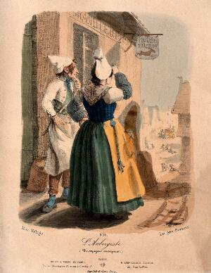 view A woman inn-keeper and her cook stand outside the hotel watching the arrival of a coach in the high street. Coloured lithograph by A.J.L. Jazet, 1843.