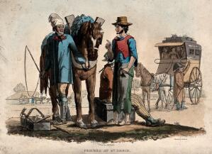 view A man is talking to another man with a horse as people leave in a horse-drawn carriage. Coloured etching by R.B Peake.